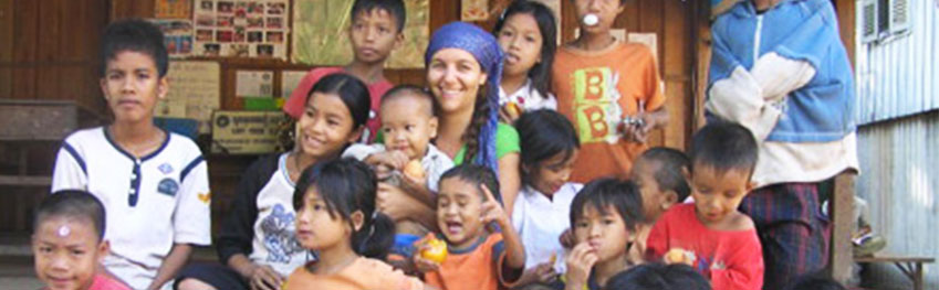 Volunteers with orphanage children