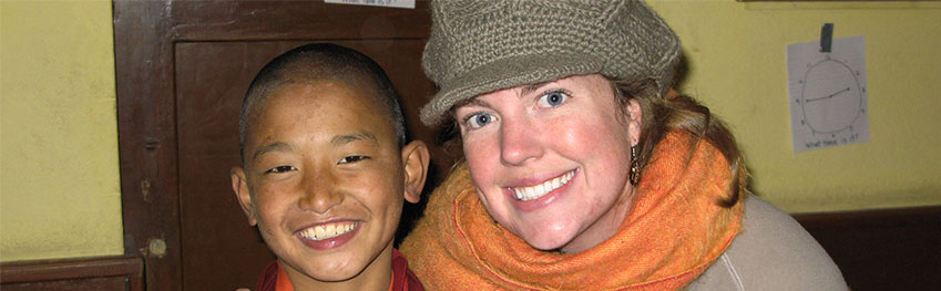 Volunteer with young monk